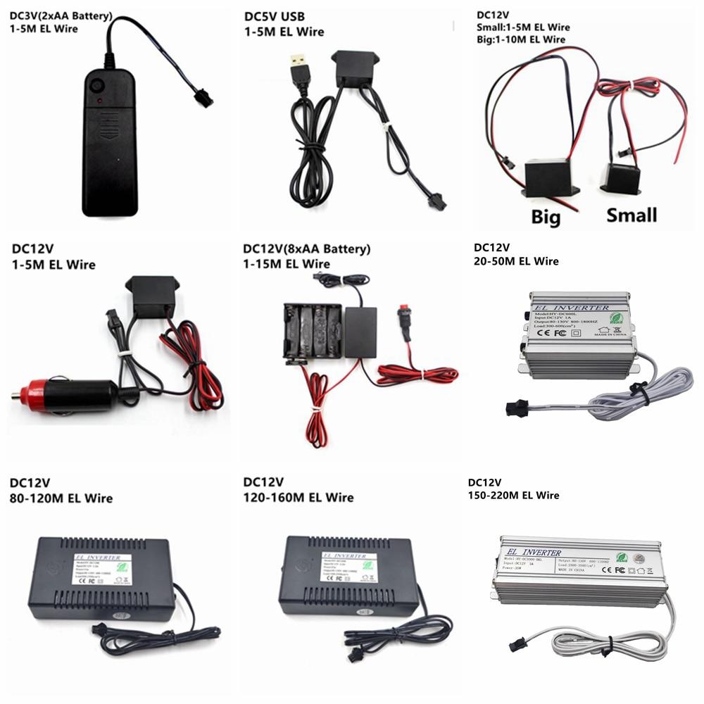 DC 3V AA Battery 5V USB 12V Power Supply Adapter Driver Controller Inverter For 1-220M El Wire Electroluminescent Light