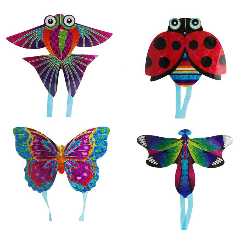 1 Pcs Outdoor Fun & Sports Kite Flying Toys For Children Interactive Toy Cartoon Aircraft Butterfly Insect Mini Kites RandomNew