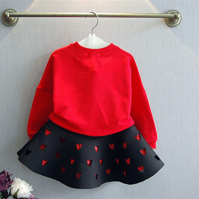 New brand red and black girls spring clothing suit kid cartoon mouse cotton children tops shirt with mini tutu skirt hollow set 5