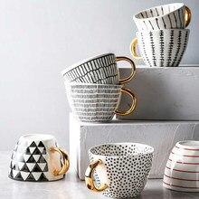 MEILING-Tazas grandes pintadas a mano con mango dorado, diseño geométrico, tazas de cerámica, café, té, leche, forma Irregular, decoración del hogar