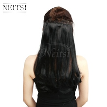 Neitsi 14'' Straight Synthetic Clip In Hair Extensions 8 Clips 3Pcsset High Temperature Fiber Black Hairpiece