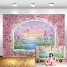 Фон для фотосъемки новорожденных детей Замок Воздушные шары