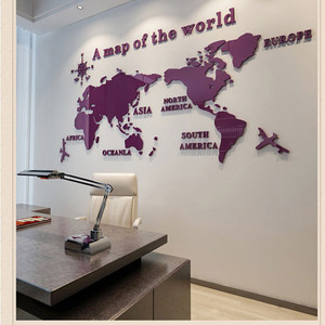 3d Large world map mirror wall