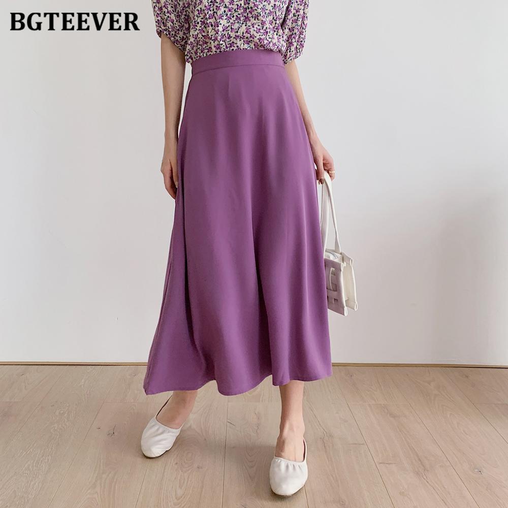 BGTEEVER, повседневные женские юбки трапециевидной формы с эластичной резинкой на талии, элегантные свободные юбки миди, женская уличная одежда, весна лето 2020|Юбки|   | АлиЭкспресс