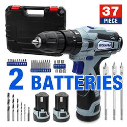 WORKPRO 12V Cordless Drill Driver Kit Combi Drill with 2 Li-Ion Batteries Fast Charger 18+3 Torque Setting 2-Speed 3/8'' Chuck