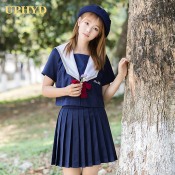 UPHYD New Unioform Japanese School Uniforms Japanese Korean Style Kawaii Girls Skirts Clothing Anime Cosplay Navy Sailor Costume anime lovelive card sr minami kotori cheerleading uniforms cosplay costume girls school cheerleading uniforms stocking gloves