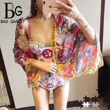 Baogarret 2019 Designer Brands Bodysuits Womens Charming Floral Print Summer Beach Holiday Sexy Bodysuit Femme + Shawl