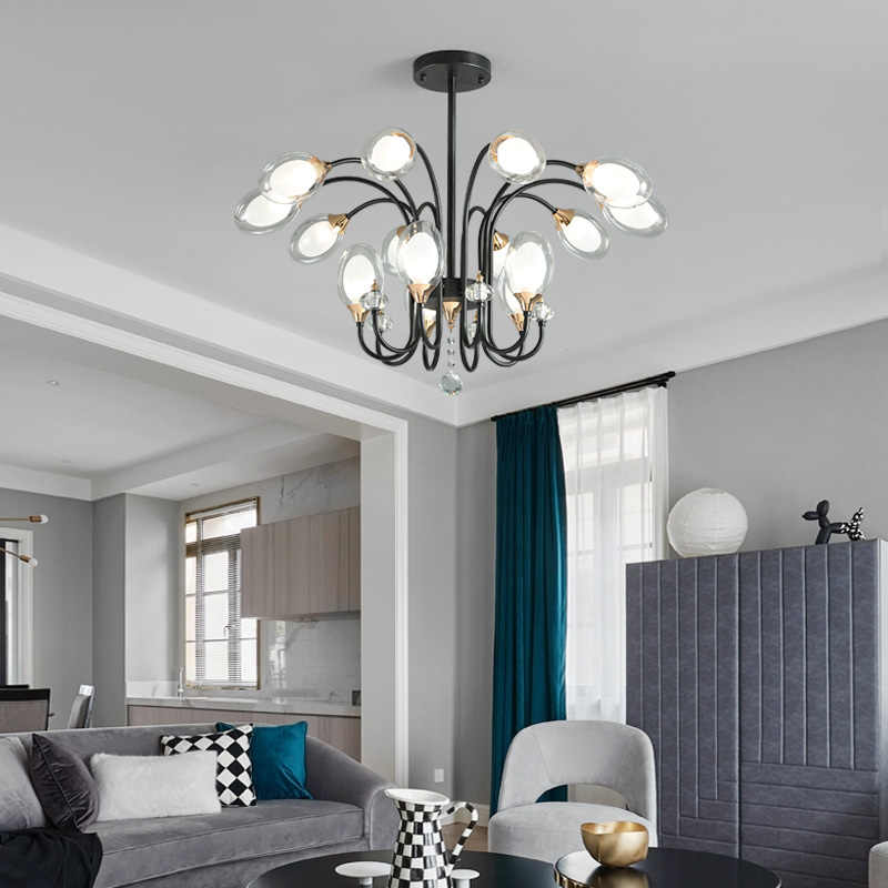 Nordic Retro luxury Blown Glass Led Chandelier Light Lamp for Loft Hall Living Room Dining Room Bedroom Home Decor 110V 220V