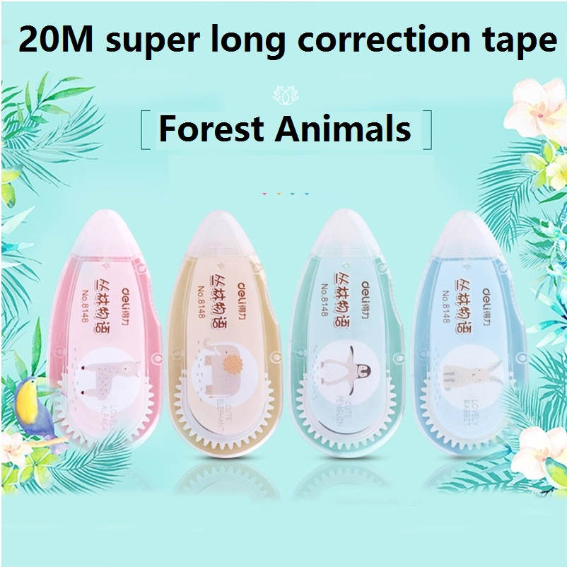 20M Long Correct Tape Cartoon Forest Animals Correction Tapes Modified Belt White Sticky Tape School Students Test Tools 8148