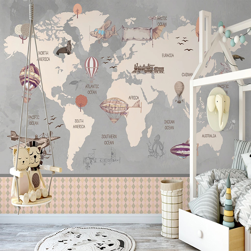 play room idea Airplane Helicopter Hand painted Map wall mural World map Wallpaper Mural with hot air balloon Baby room Nursery Decor