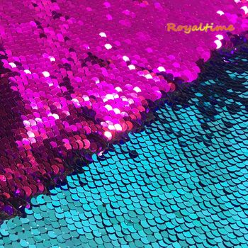 Double Face Sequins Fabric For Handbags Garments DIY Tissue Sewing Fabric Material Craft Making Accessories-Turquoise/Fuchsia image