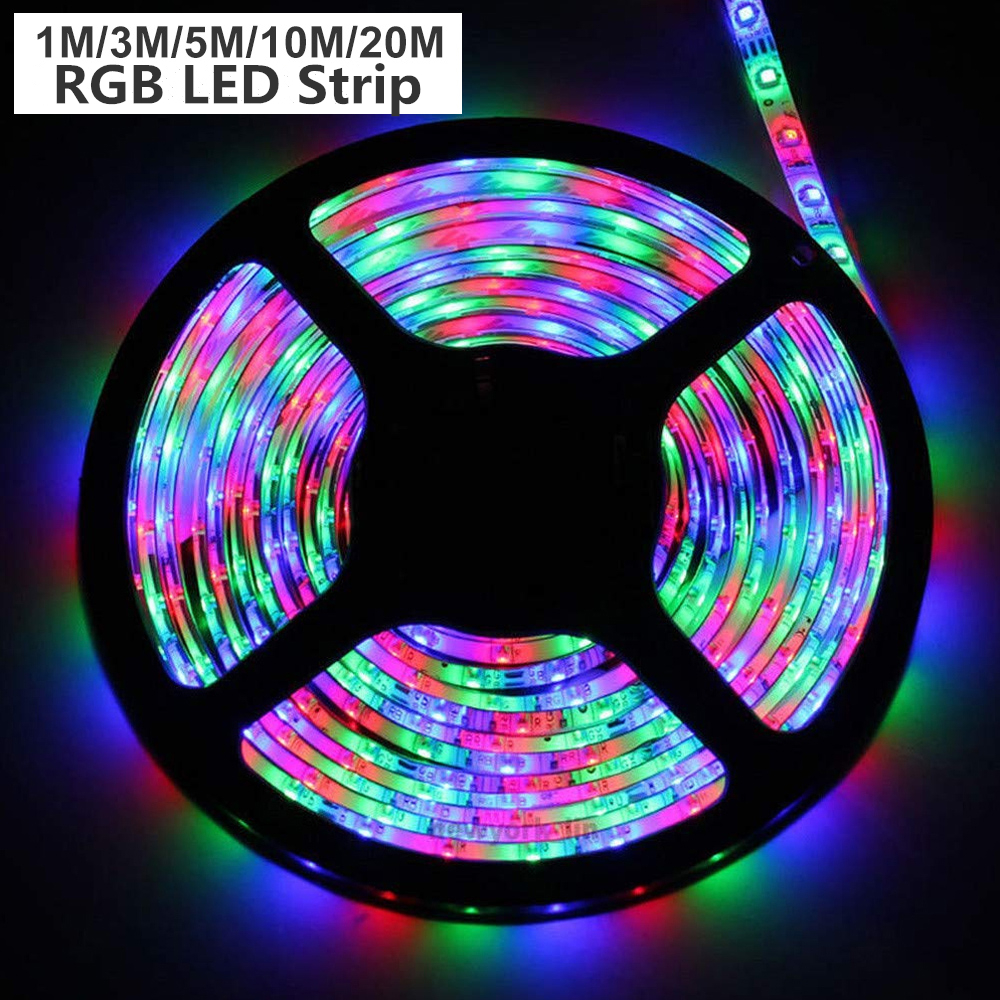 1m/3m/5m/10m/20m RGB LED Strip 3528 SMD LED Strips Light USB Night Lamp RGB Tape DC12V Ribbon Flexible Stripe With Controller