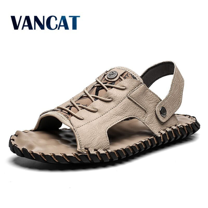 New Big Size 39-48 High Quality Leather Men Sandals Summer Beach Slippers Casual Sneakers Outdoor Flip Flop Roman Beach Shoes