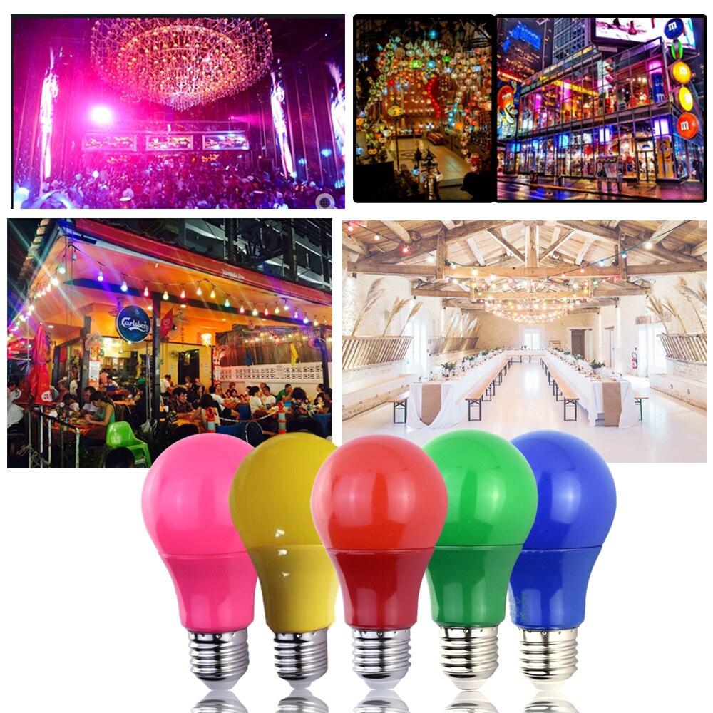 Светильник E27 Светодиодный светильник 5 Вт 7 Вт 9 Вт Красный Синий Зеленый Желтый Розовый Светодиодный светильник для бара KTV вечерние светильник ing|Светодиодные лампы и трубки|   | АлиЭкспресс
