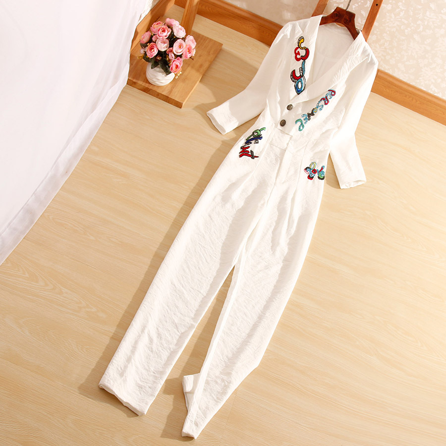 New style autumn Women jumpsuits Chinese style fashion embroidery Sequined elegant slim lady white/black Rompers S-XL