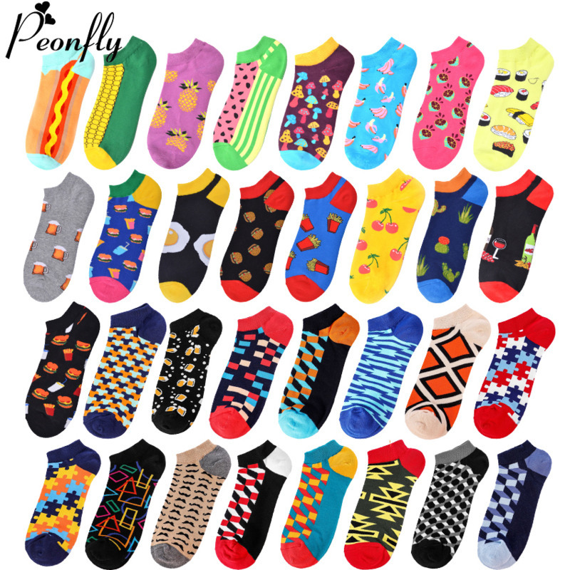 Slippers Socks Men Invisible Novelty 2020 Spring Summer Happy Funny Hamburger Cactus Ankle Combed Cotton Boat Socks PEONFLY