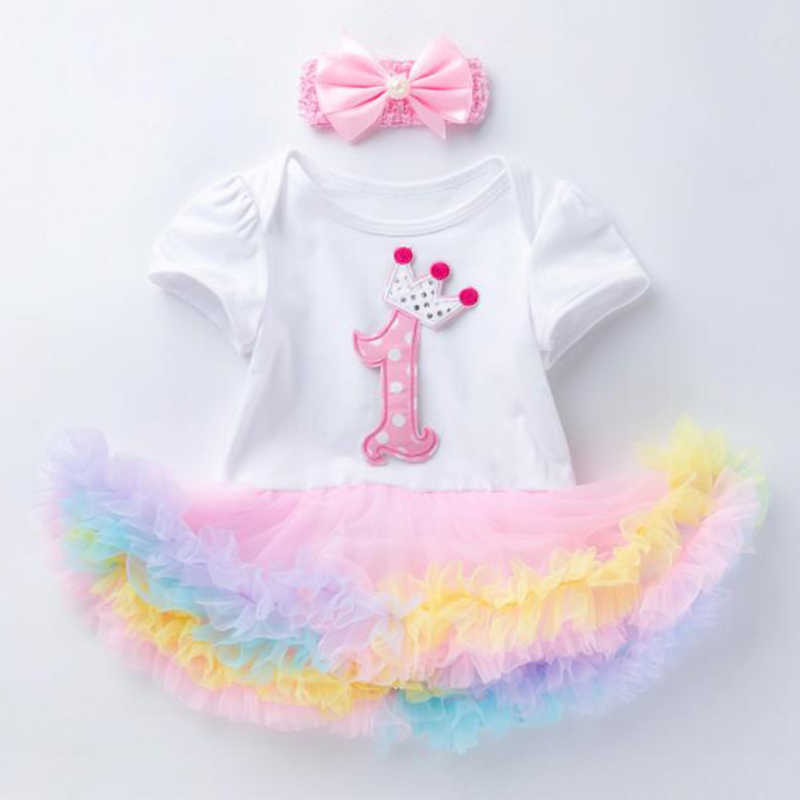 Для маленьких девочек вечерние платье на день рождения для маленькой хлопок короткий рукав боди крещение малыша Летняя одежда для малышей комбинезон, спортивный костюм + повязка на голову
