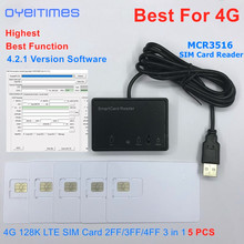 OYEITIMES MCR3516 SIM Đầu Đọc Thẻ + 5 Chiếc 2FF/3FF/4FF Có Thể Lập Trình Thẻ SIM Trống LTE WCDMA GSM USIM 4G Thẻ + Tặng 4.2.1 Ver. Phần Mềm