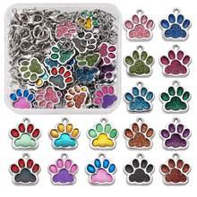108 шт./коркор. эмалевые Подвески с принтом кошек, собак, медведей, лап, подвески для рукоделия, ожерелье, браслет, брелок, брелки, изготовление ...