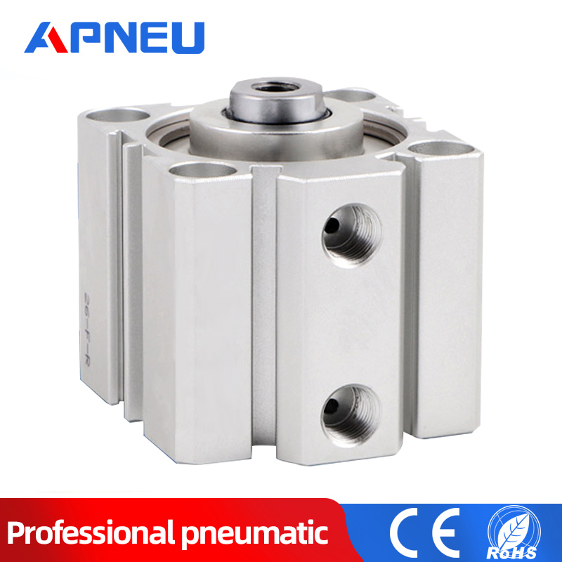 SDA series Pneumatic Compact Thin Type Air Cylinder 16 20 25 32 40 50 63mm Bore 10 15 20 30 35 40 45 50mm Stroke Aluminium Alloy image