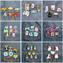 Brooches Set Wholesale Rocket Game Console Potted Plant Feminism Chemical Instrument Cat Backpack Enamel Lapel Pin Badges Gifts