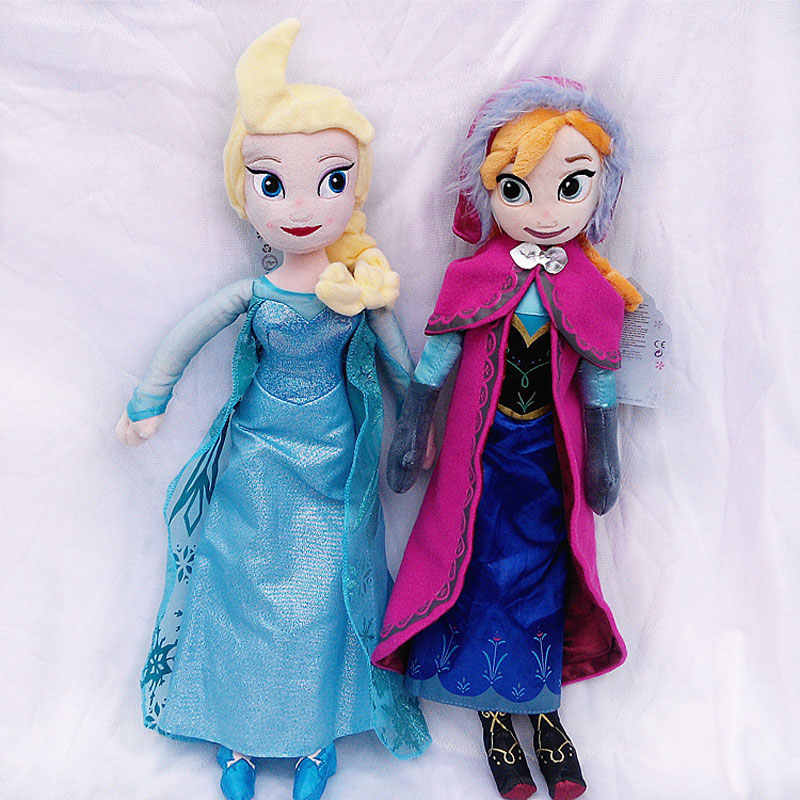 2pcs/lot 40/50CM Anna& Elsa Plush Toys Unique Gifts Cute Girl Toy Princess Stuff Doll Girl Birthday Gifts Pelucia Boneca Juguete