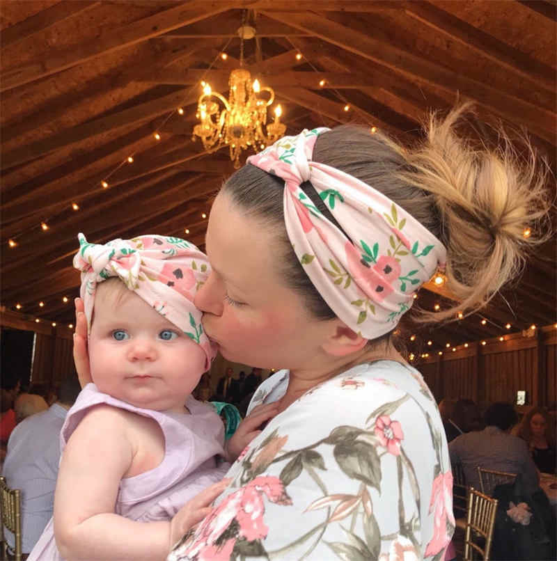 2020 Spring New Baby and Mom Headbands Set Flower Bowknot Newborn Turban Cross-tied Mommy Headbands Set Baby Party Accessories