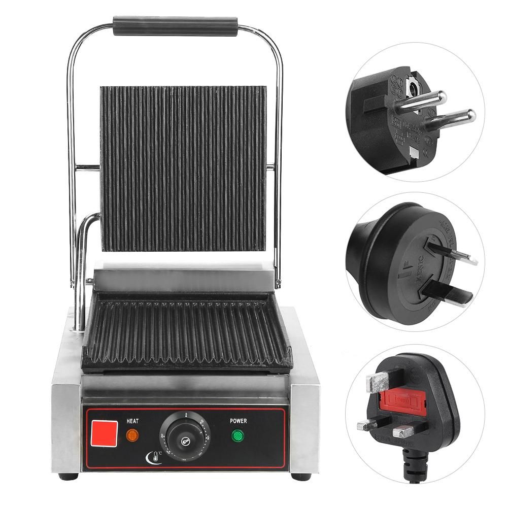 Indoor Electric Grill 220-240V Double Sided Fast Heat Up Contact Grill Countertop Griddle Commercial Grill Professional For BBQ