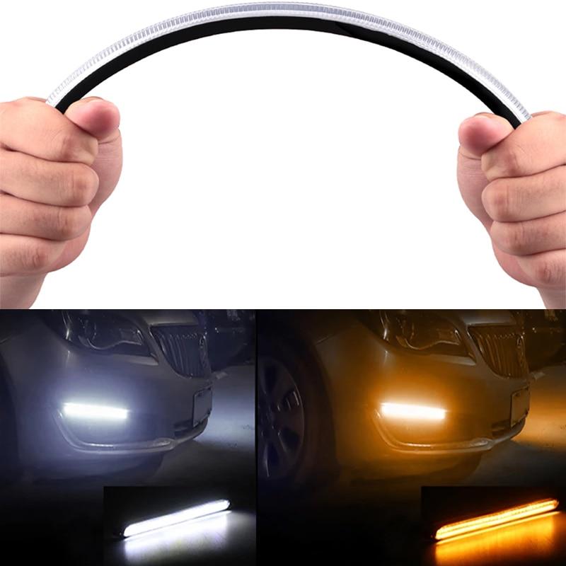 2 шт. Автомобильный светодиодный дневный ходовой светильник DRL водонепроницаемый гибкий 12 В декоративный последовательный головной светил...