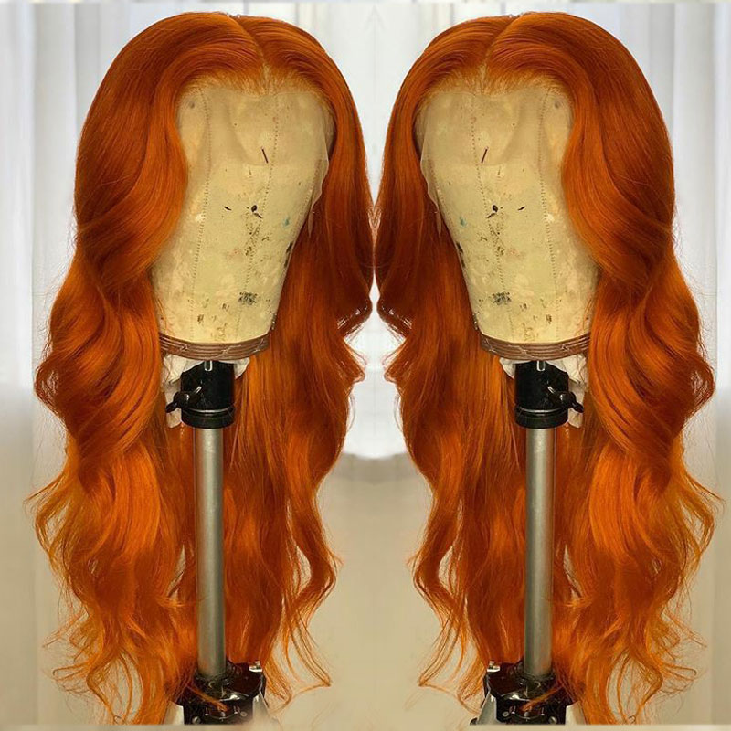 Orange Color 13x6 Lace Front Human Hair Wigs With Pre Plucked Brazilian 360 Remy Honey Blonde Lace Frontal Wigs With Baby Hair
