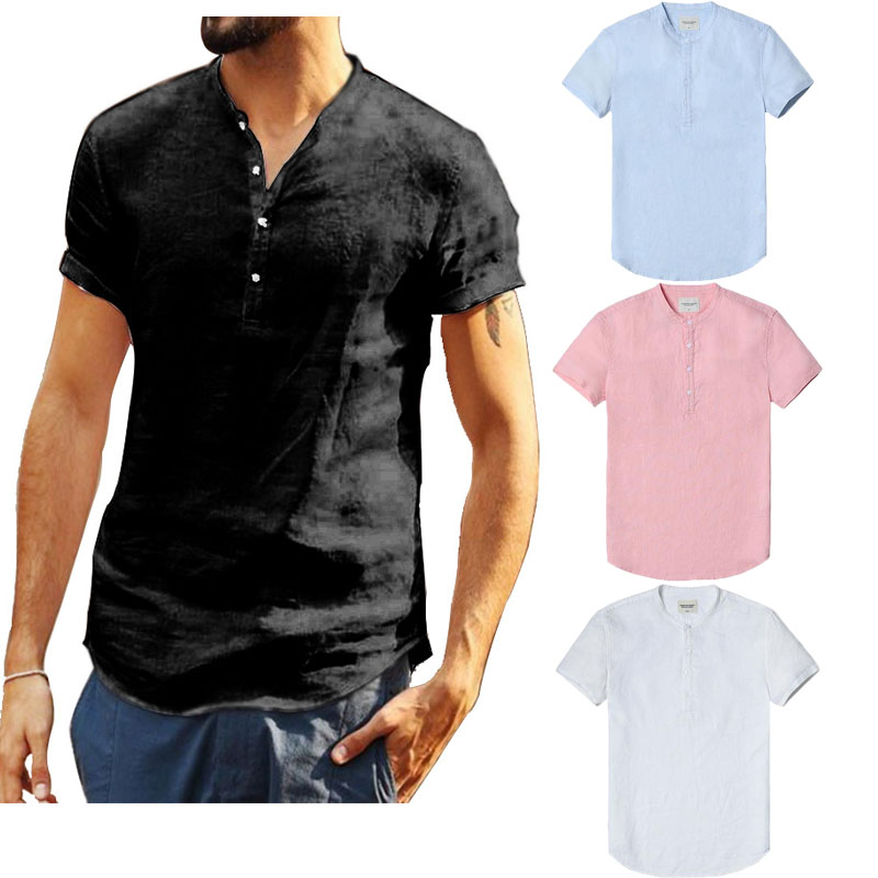 Meihuida Summer Men Causal Pullover Linen Short Sleeve O-Neck Solid Loose Soft Comfortable Shirts