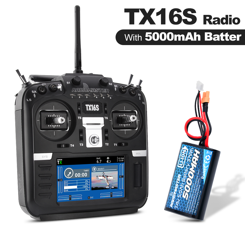 RadioMaster TX16S Hall Sensor Gimbals 2.4G 16CH Multi-protocol RF System OpenTX Transmitter With 5000 Amh Battery For RC Drone