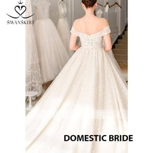 Image 5 - Sweetheart Princess Ball Gown Wedding Dress 2020 Swanskirt Off Shoulder Beaded Long Train Bridal Illusion Vestido de noiva F305