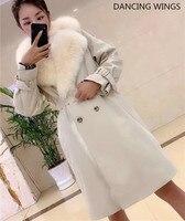 2019 Real Fur Coat Thick Warm Fox Fur Liner Parka Women Winter Jacket Suit Collar Long Trench Coats