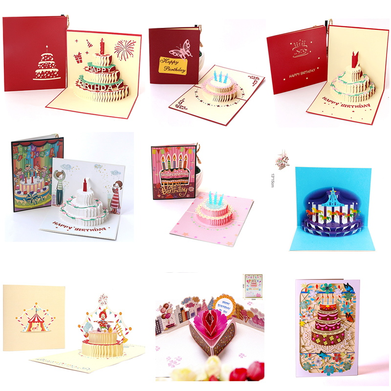 DIY Clown Cake Creative 3D Handmade Paper Carving thanksgiving card gift greeting Birthday party stereo 1pcs
