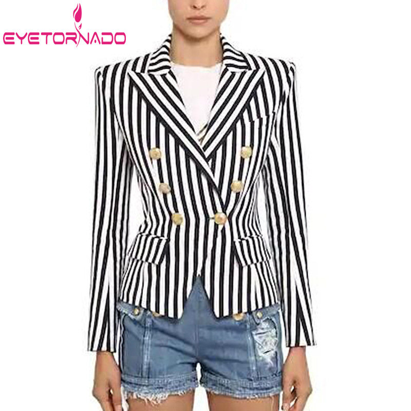 Women's Autumn Suit Jacket Double Breasted Slim Short Work Office Blazer Striped Print Metal Buttons Classic Slim Suit
