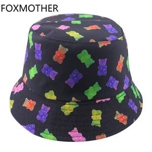 FOXMOTHER New Men Reversible Cartoon Bear Print Bucket Hats Women Fisherman Hats Cap Summer