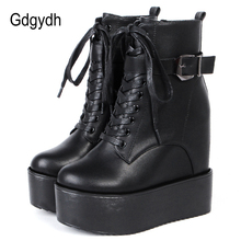 Ankle-Boots Buckle Wedges-Shoes Platform Goth High-Heels Black White Women Comfortable