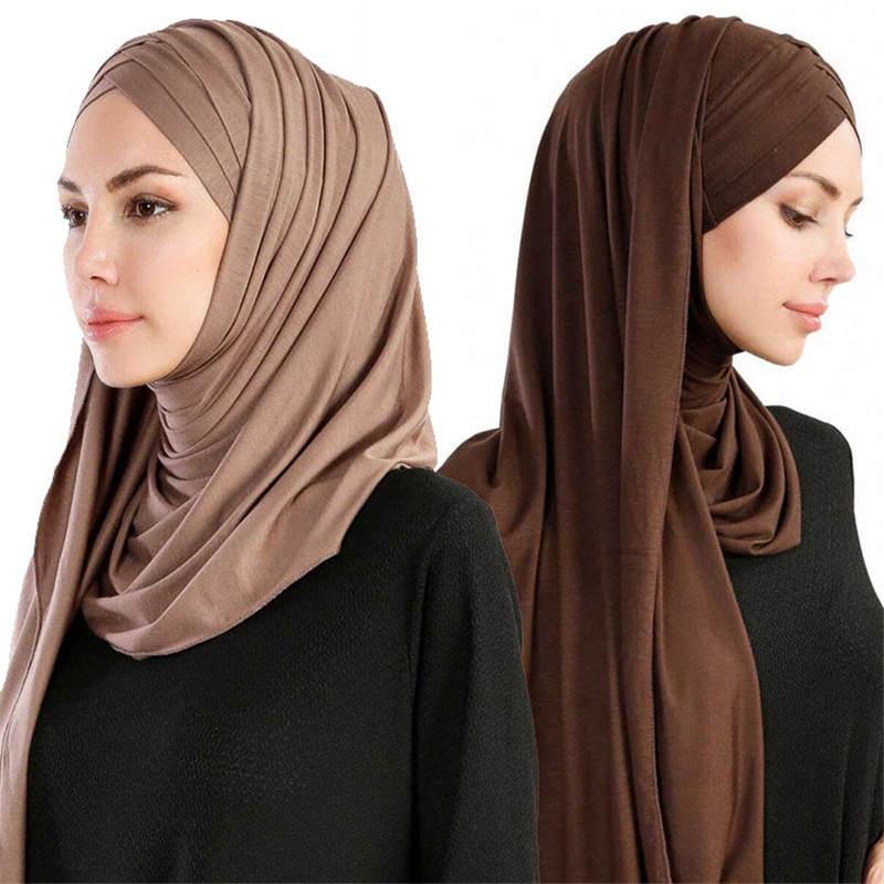 Shawls Wrap Hijab Foulard Cross-Scarf-Head Store Ready-To-Wear Instant Muslim Femme Women