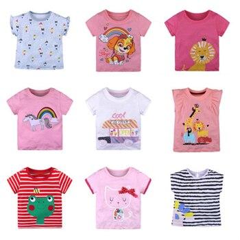 أطفال الصيف الفتيات القمصان ملابس الأطفال قصيرة الأكمام والقمصان للبنات كارتون مطبوعة الطفل بنات القمم المحملة طفل زي