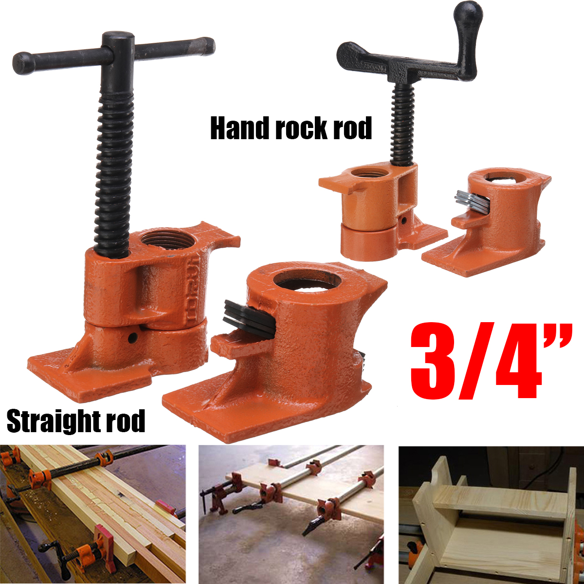 3/4 Inch Heavy Duty Pipe Clamp for Woodworking Wood Gluing Pipe Clamp Steel Cast Iron Pipe Clamp Fixture Carpenter Hand Tool(China)