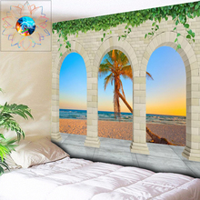 Ombre Beach Tapestry Coconut Trees Wall Hanging Mandala Bohemian Psychedelic Decorative Hippie Living Room Home Decor
