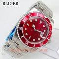 Роскошные BLIGER 40 мм китайские красные автоматические мужские часы светящиеся Miyota 8215 часы с механизмом Автоматическая Дата ремешок из нержав...