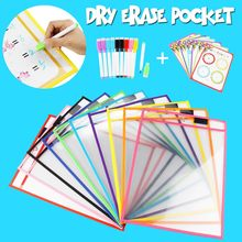 10/20/28pcs Reusable Transparent Dry Pocket With Pens Erasable Drawing Pockets Whiteboard Markers Kids Teaching Supplies