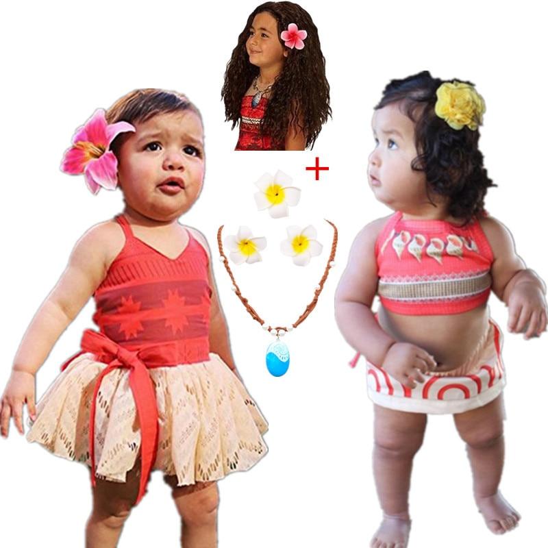 Princess Moana Cosplay Costume for kids Vaiana dress  Birthday Infant Backless Moana Dress 1-5 Years Kids Fancy Fairy Beachwear