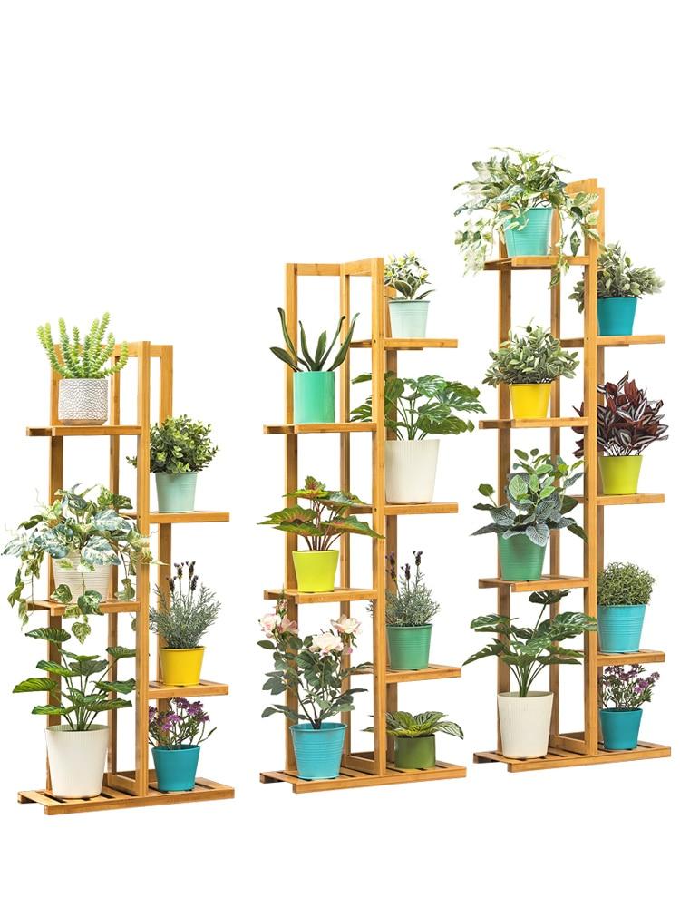 Flower Shelf Storage Multi-level Indoor Balcony Green Porridge Solid Wood Living Room Floor-style Fleshy Decorative Wrought Iron