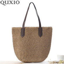 2019 Summer for Women Straw Beach Bag Classic Luxury Brand Designer Handbags Casual Shoulder Bags Brown White Coffee Tote ZCY08(China)