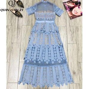 Image 4 - Qian Han Zi 2019 дизайнерское модное подиумное Макси платье женские с коротким рукавом с вышивкой кружевные Элегантные Длинные вечерние платья