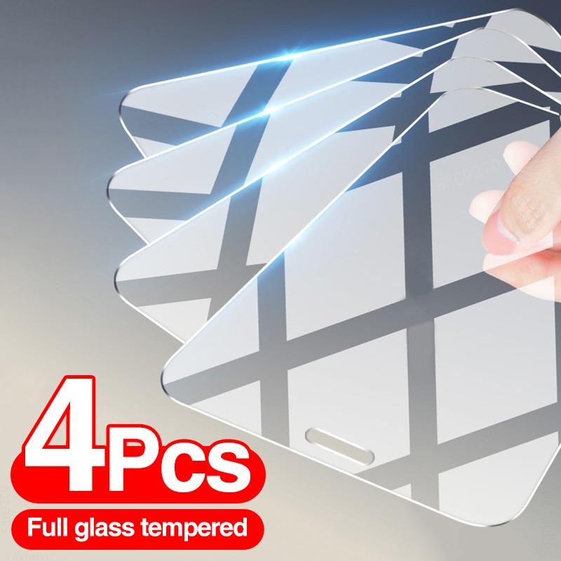 Vidrio templado para iPhone, Protector de pantalla para iPhone 12, 7, 8, 6 Plus, X, XS, XR, 11, 12 Pro, Max, 12, Mini, 4 unidades