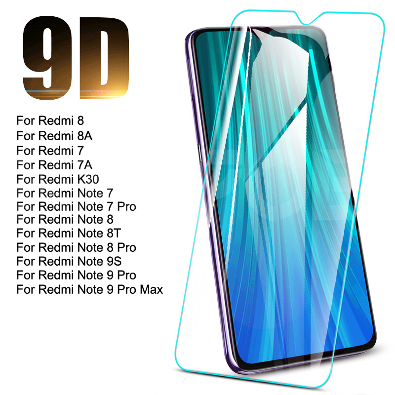 9D Tempered Glass For Xiaomi Redmi 8 8A 7 7A K30 Screen Protector Redmi Note 9S 8 8T 7 9 Pro Max Safety Protective Glass Film(China)